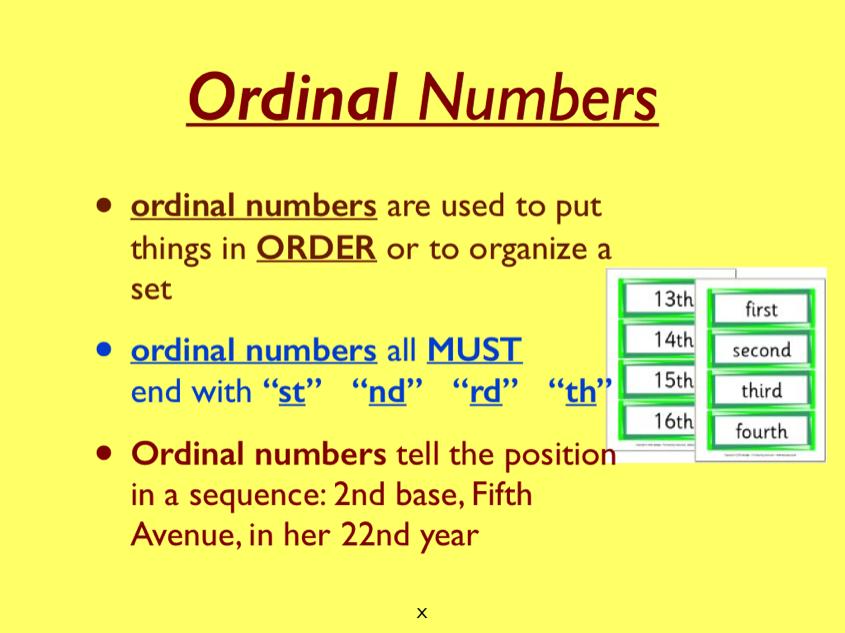 ordinal and cardinal